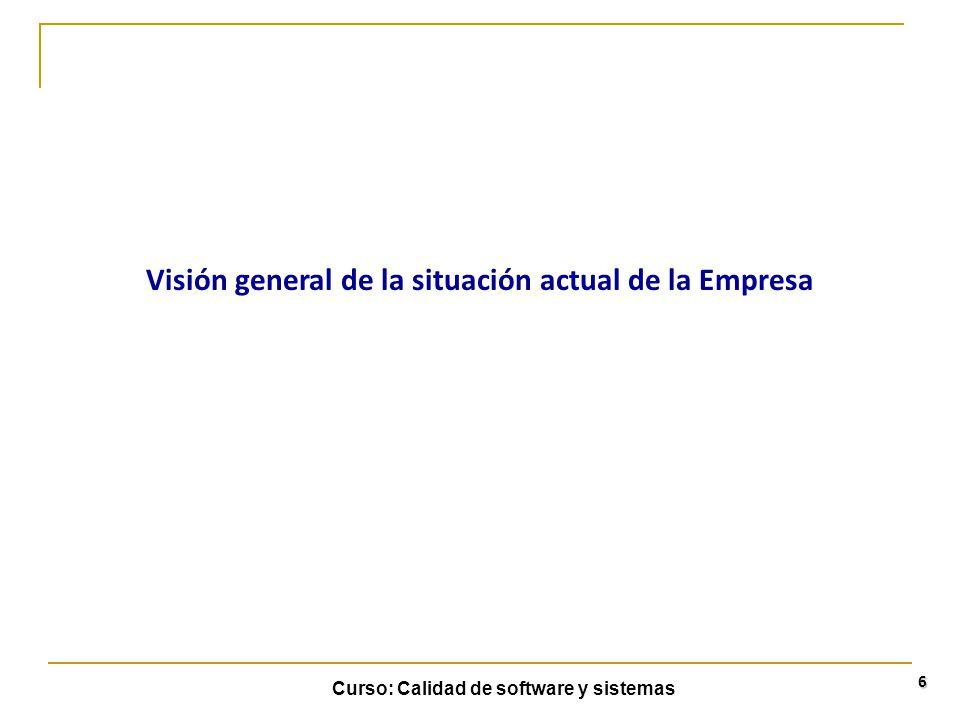 Curso: Calidad de software y sistemas 6 Visión general de la situación actual de la Empresa
