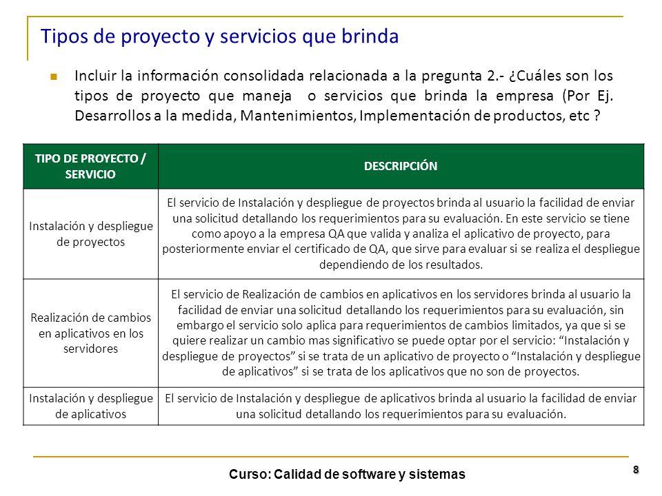 Curso: Calidad de software y sistemas 9 Incluir la información consolidada relacionada a la pregunta 2.- ¿Cuáles son los tipos de proyecto que maneja o servicios que brinda la empresa (Por Ej.