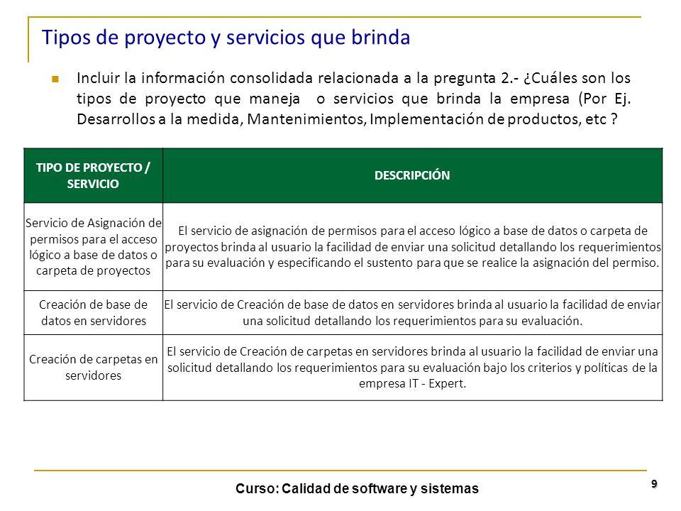 Curso: Calidad de software y sistemas 9 Incluir la información consolidada relacionada a la pregunta 2.- ¿Cuáles son los tipos de proyecto que maneja