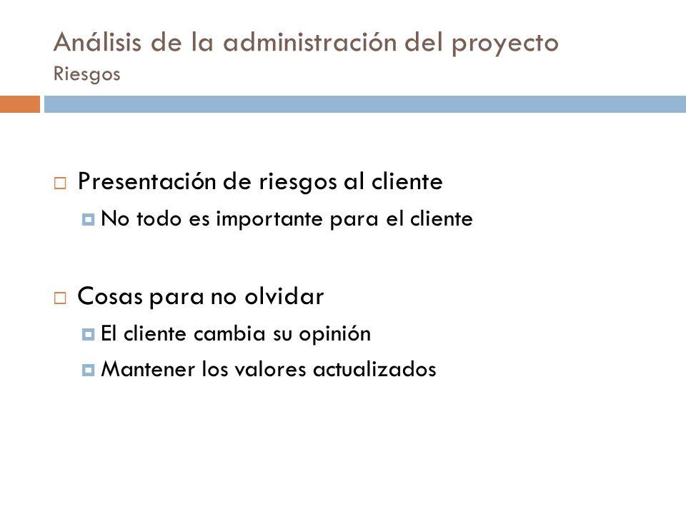 Análisis de la administración del proyecto Riesgos Presentación de riesgos al cliente No todo es importante para el cliente Cosas para no olvidar El c