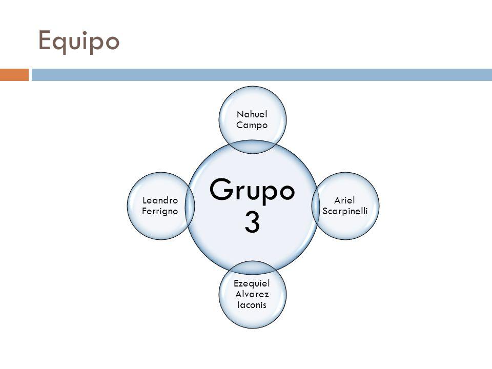 Equipo Grupo 3 Nahuel Campo Ariel Scarpinelli Ezequiel Alvarez Iaconis Leandro Ferrigno