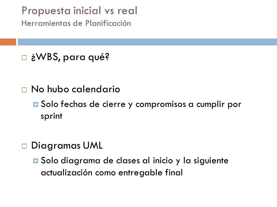 Propuesta inicial vs real Herramientas de Planificación ¿WBS, para qué? No hubo calendario Solo fechas de cierre y compromisos a cumplir por sprint Di