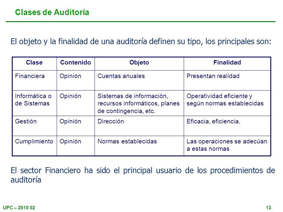 UPC – 2010 0213 Clases de Auditoría El objeto y la finalidad de una auditoría definen su tipo, los principales son: ClaseContenidoObjetoFinalidad Fina