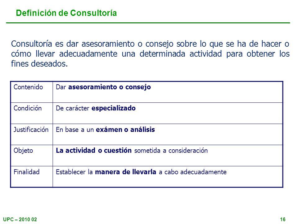 UPC – 2010 0216 Definición de Consultoría Consultoría es dar asesoramiento o consejo sobre lo que se ha de hacer o cómo llevar adecuadamente una deter