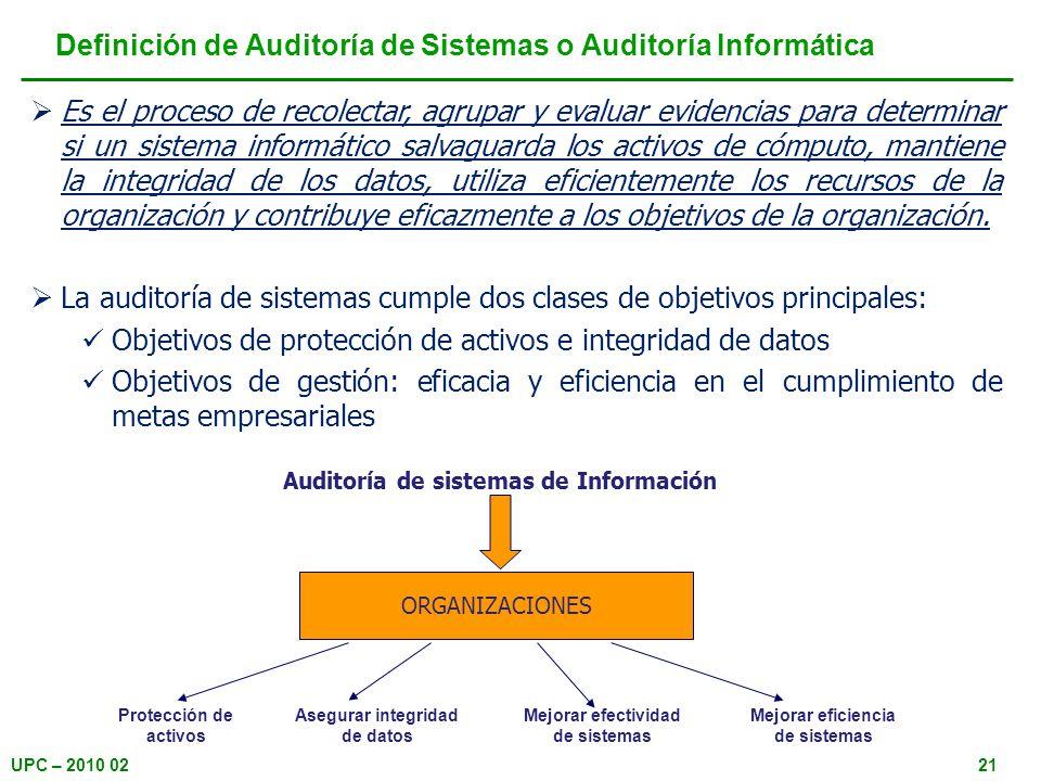 UPC – 2010 0221 Definición de Auditoría de Sistemas o Auditoría Informática Es el proceso de recolectar, agrupar y evaluar evidencias para determinar