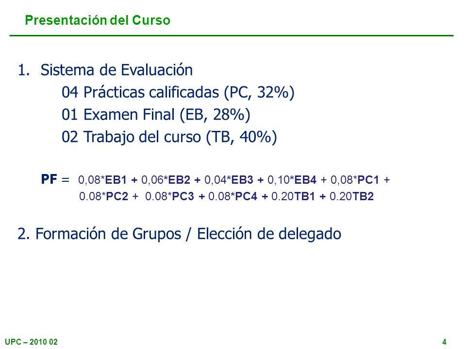 UPC – 2010 024 Presentación del Curso 1.Sistema de Evaluación 04 Prácticas calificadas (PC, 32%) 01 Examen Final (EB, 28%) 02 Trabajo del curso (TB, 4