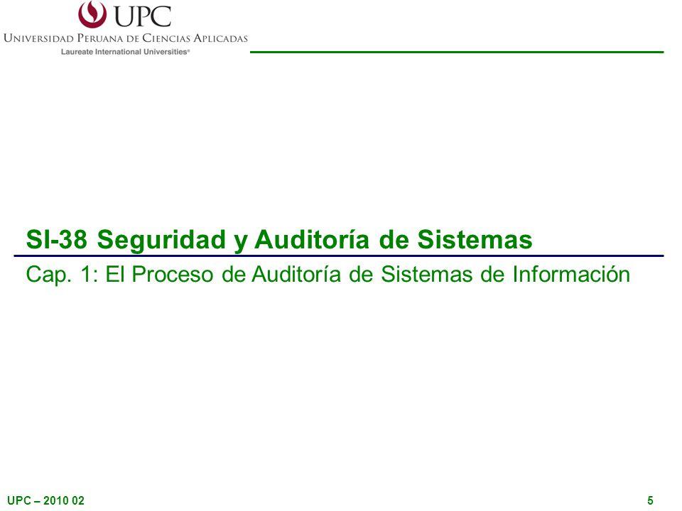 UPC – 2010 025 SI-38 Seguridad y Auditoría de Sistemas Cap. 1: El Proceso de Auditoría de Sistemas de Información