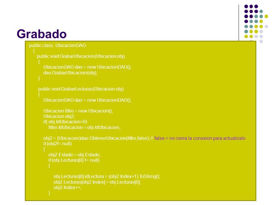 Grabado public class UbicacionDAO { public void GrabarUbicacion(Ubicacion obj) { UbicacionDAO dao = new UbicacionDAO(); dao.GrabarUbicacion(obj); } public void GrabarLecturas(Ubicacion obj) { UbicacionDAO dao = new UbicacionDAO(); Ubicacion filtro = new Ubicacion(); Ubicacion obj2; if( obj.IdUbicacion>0) filtro.IdUbicacion = obj.IdUbicacion; obj2 = (Ubicacion)dao.ObtenerUbicacion(filtro,false); // false-> no cierra la conexion para actualizalo if (obj2!= null) { obj2.Estado = obj.Estado; if (obj.Lecturas[0] != null) { obj.Lecturas[0].idLectura = (obj2.Index+1).ToString(); obj2.Lecturas[obj2.Index] = obj.Lecturas[0]; obj2.Index++; }.