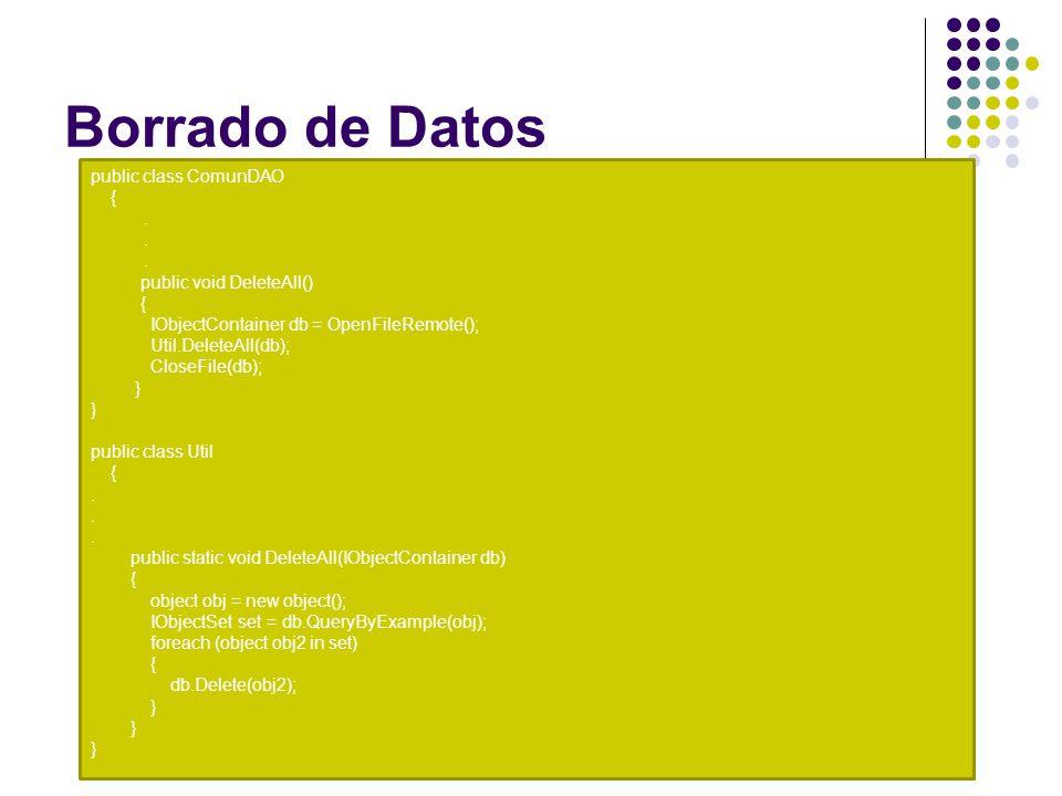 Borrado de Datos public class ComunDAO {.