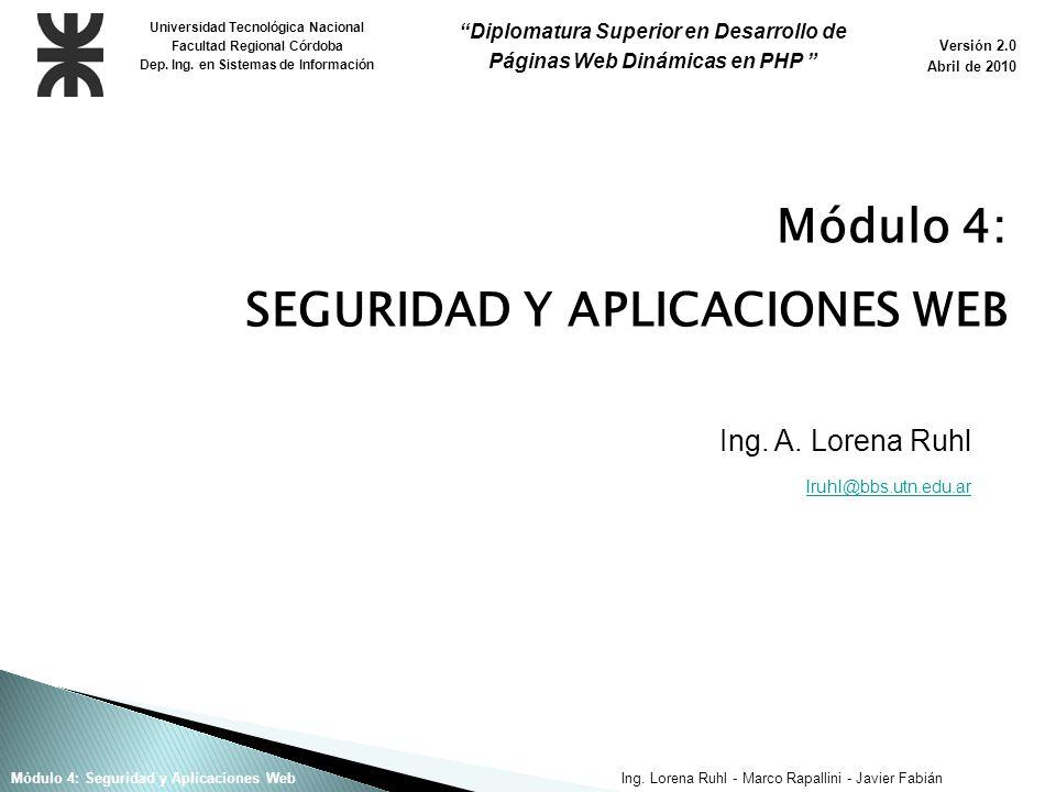 Ing. Lorena Ruhl - Marco Rapallini - Javier FabiánMódulo 4: Seguridad y Aplicaciones Web Ing.