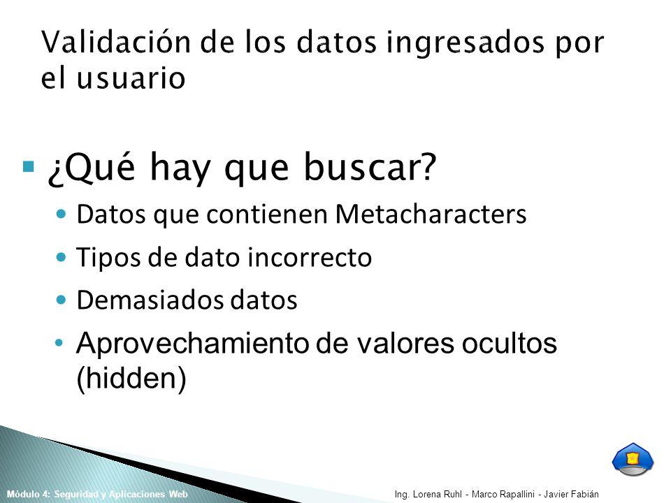 Ing. Lorena Ruhl - Marco Rapallini - Javier FabiánMódulo 4: Seguridad y Aplicaciones Web ¿Qué hay que buscar? Datos que contienen Metacharacters Tipos
