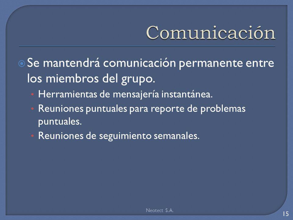Se mantendrá comunicación permanente entre los miembros del grupo.