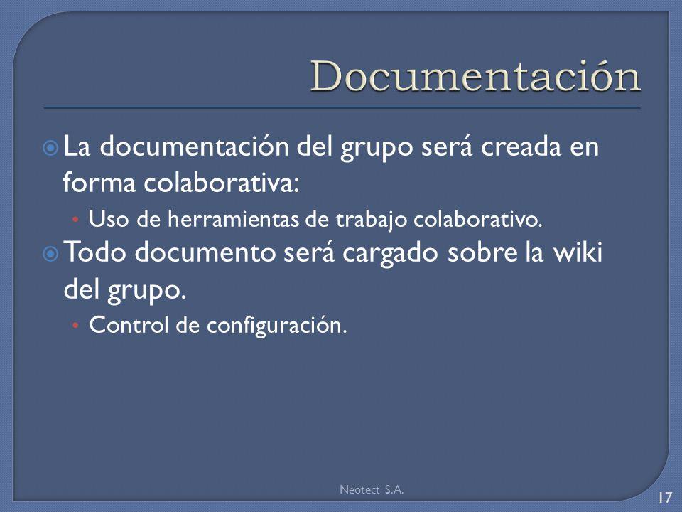 La documentación del grupo será creada en forma colaborativa: Uso de herramientas de trabajo colaborativo.