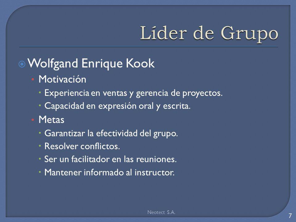 Wolfgand Enrique Kook Motivación Experiencia en ventas y gerencia de proyectos.