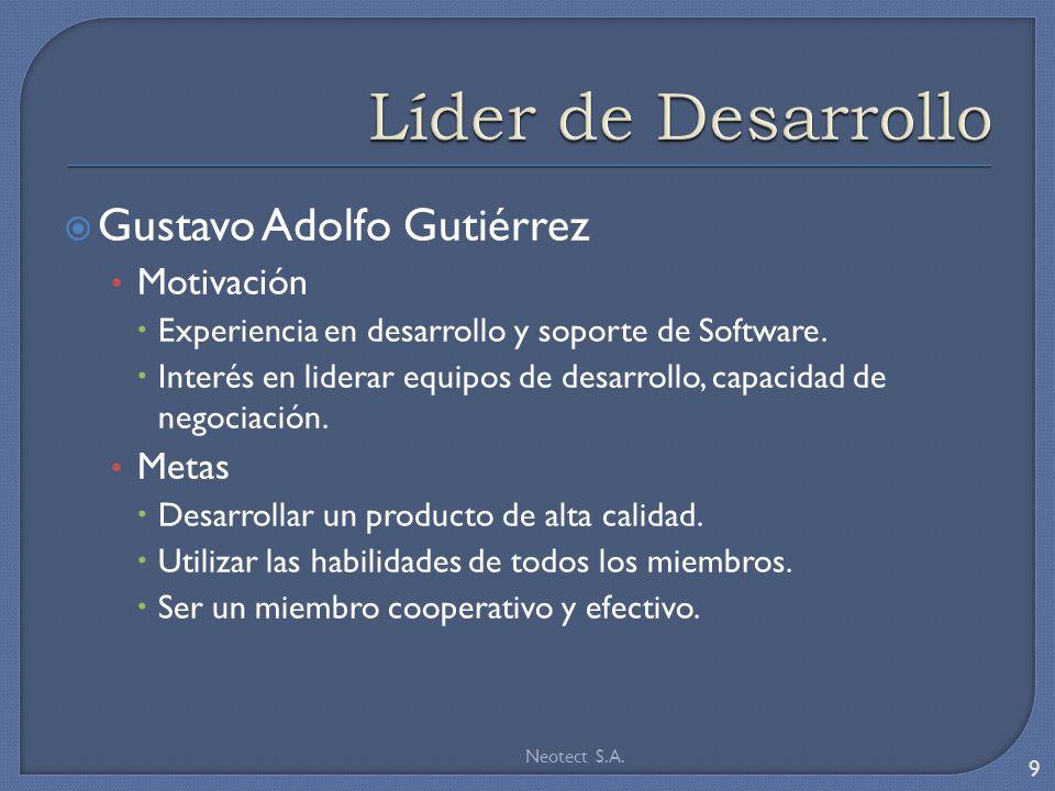 Gustavo Adolfo Gutiérrez Motivación Experiencia en desarrollo y soporte de Software.