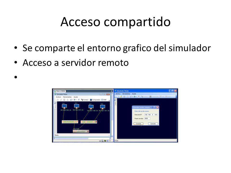 Acceso compartido Se comparte el entorno grafico del simulador Acceso a servidor remoto