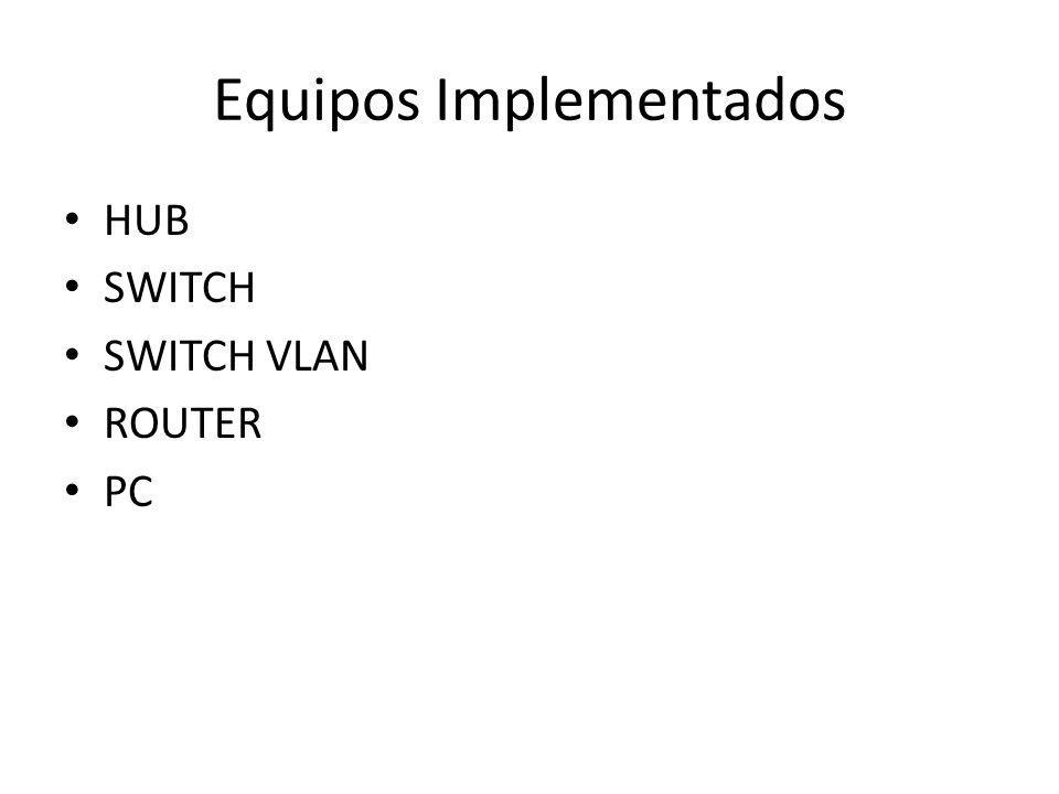 Equipos Implementados HUB SWITCH SWITCH VLAN ROUTER PC