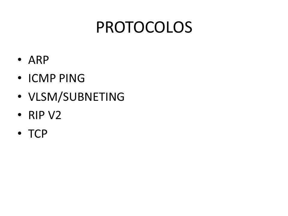 PROTOCOLOS ARP ICMP PING VLSM/SUBNETING RIP V2 TCP