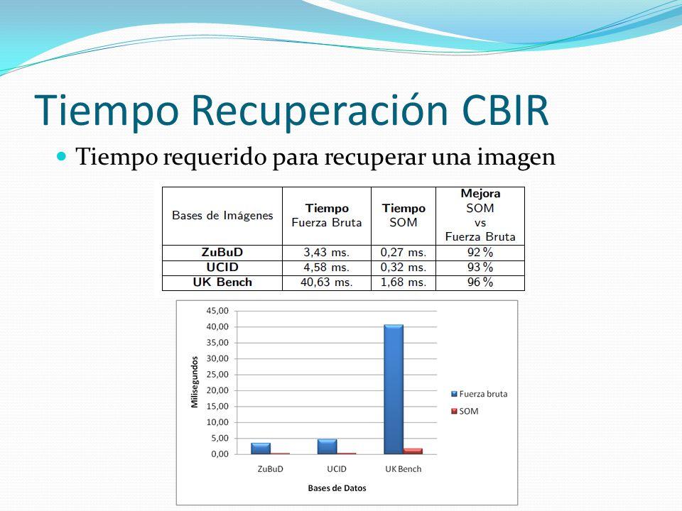 Tiempo Recuperación CBIR Tiempo requerido para recuperar una imagen