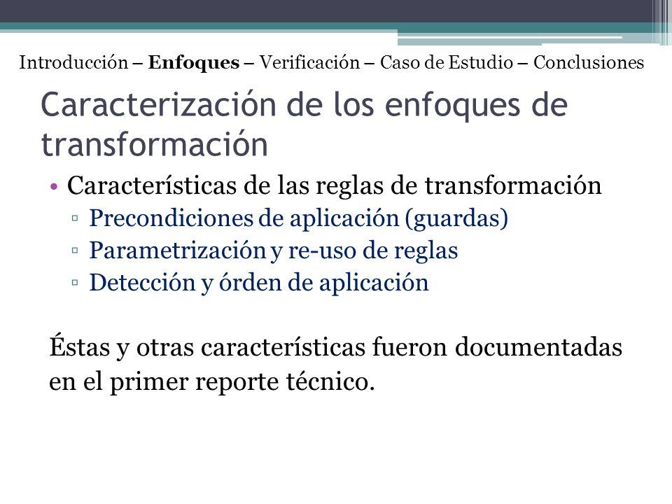 Caracterización de los enfoques de transformación Características de las reglas de transformación Precondiciones de aplicación (guardas) Parametrizaci