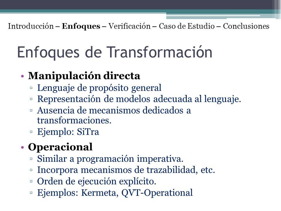 Enfoques de Transformación Manipulación directa Lenguaje de propósito general Representación de modelos adecuada al lenguaje. Ausencia de mecanismos d