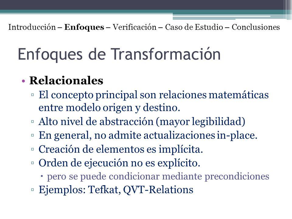 Enfoques de Transformación Relacionales El concepto principal son relaciones matemáticas entre modelo origen y destino. Alto nivel de abstracción (may