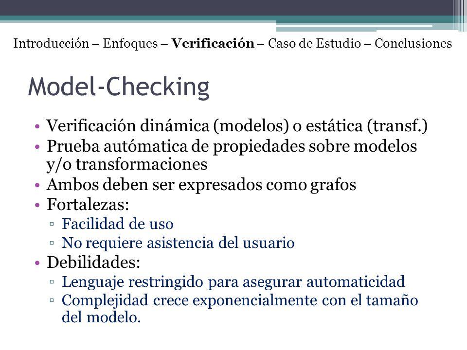 Model-Checking Verificación dinámica (modelos) o estática (transf.) Prueba autómatica de propiedades sobre modelos y/o transformaciones Ambos deben se