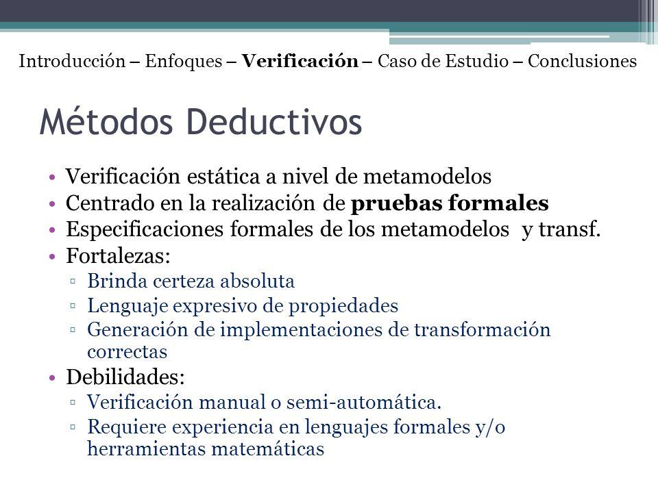 Métodos Deductivos Verificación estática a nivel de metamodelos Centrado en la realización de pruebas formales Especificaciones formales de los metamo