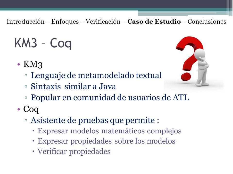 KM3 – Coq KM3 Lenguaje de metamodelado textual Sintaxis similar a Java Popular en comunidad de usuarios de ATL Coq Asistente de pruebas que permite :