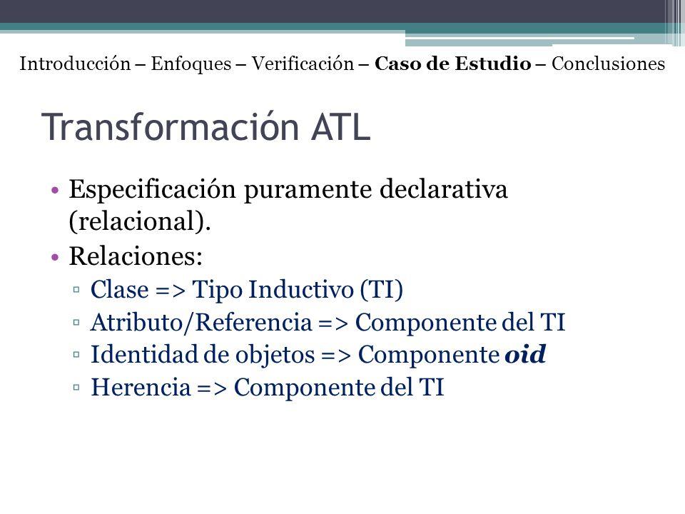 Transformación ATL Especificación puramente declarativa (relacional). Relaciones: Clase => Tipo Inductivo (TI) Atributo/Referencia => Componente del T