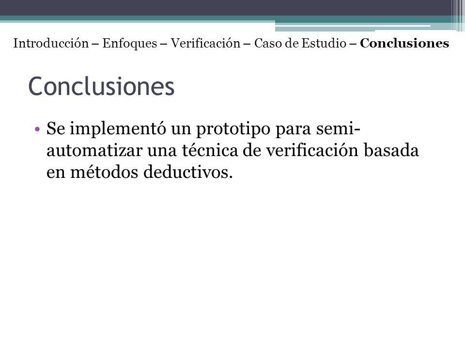 Conclusiones Se implementó un prototipo para semi- automatizar una técnica de verificación basada en métodos deductivos. Introducción – Enfoques – Ver