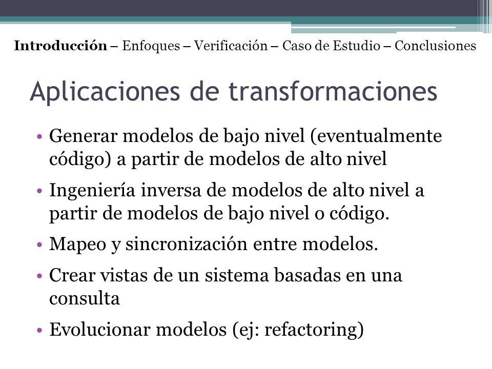 Aplicaciones de transformaciones Generar modelos de bajo nivel (eventualmente código) a partir de modelos de alto nivel Ingeniería inversa de modelos