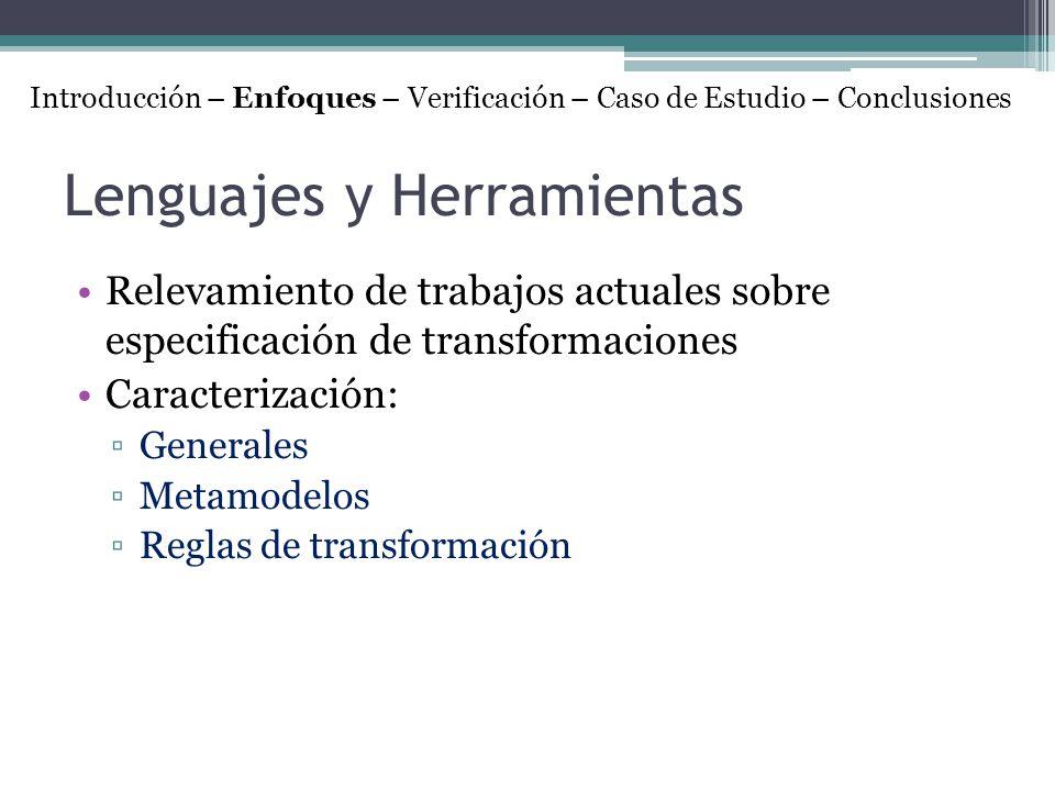 Lenguajes y Herramientas Relevamiento de trabajos actuales sobre especificación de transformaciones Caracterización: Generales Metamodelos Reglas de t