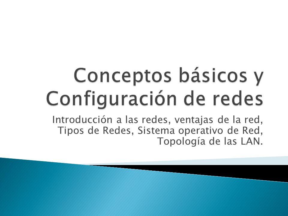 Introducción a las redes, ventajas de la red, Tipos de Redes, Sistema operativo de Red, Topología de las LAN.