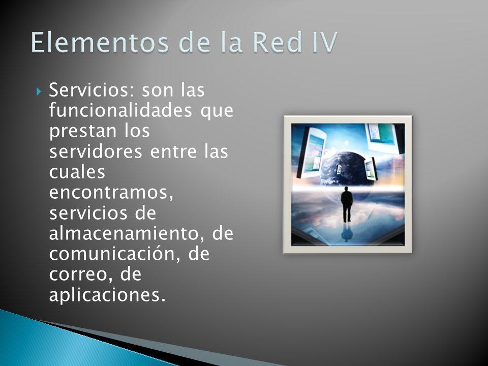 Servicios: son las funcionalidades que prestan los servidores entre las cuales encontramos, servicios de almacenamiento, de comunicación, de correo, de aplicaciones.