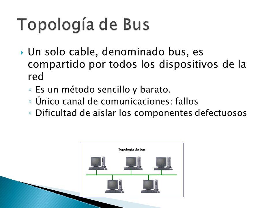 Un solo cable, denominado bus, es compartido por todos los dispositivos de la red Es un método sencillo y barato. Único canal de comunicaciones: fallo