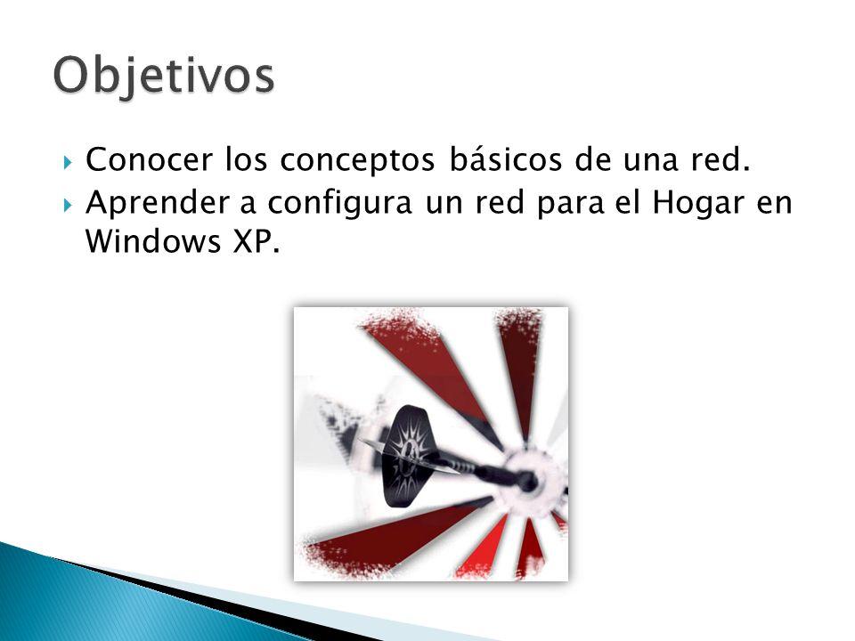 Conocer los conceptos básicos de una red. Aprender a configura un red para el Hogar en Windows XP.