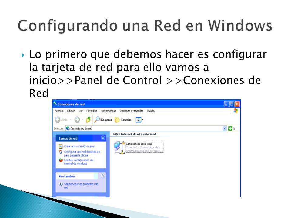 Lo primero que debemos hacer es configurar la tarjeta de red para ello vamos a inicio>>Panel de Control >>Conexiones de Red
