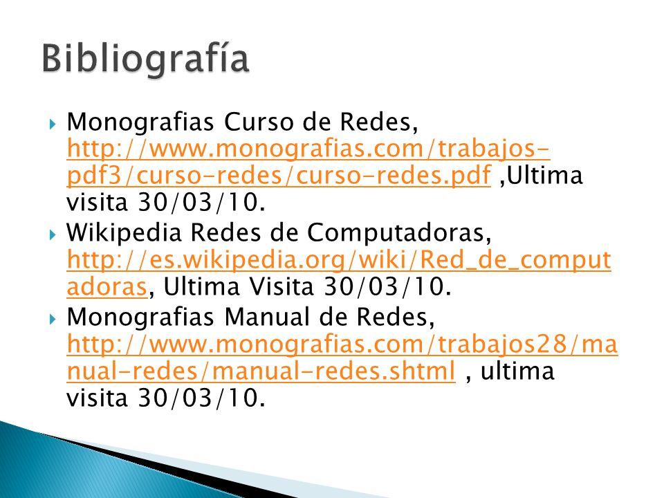 Monografias Curso de Redes, http://www.monografias.com/trabajos- pdf3/curso-redes/curso-redes.pdf,Ultima visita 30/03/10. http://www.monografias.com/t