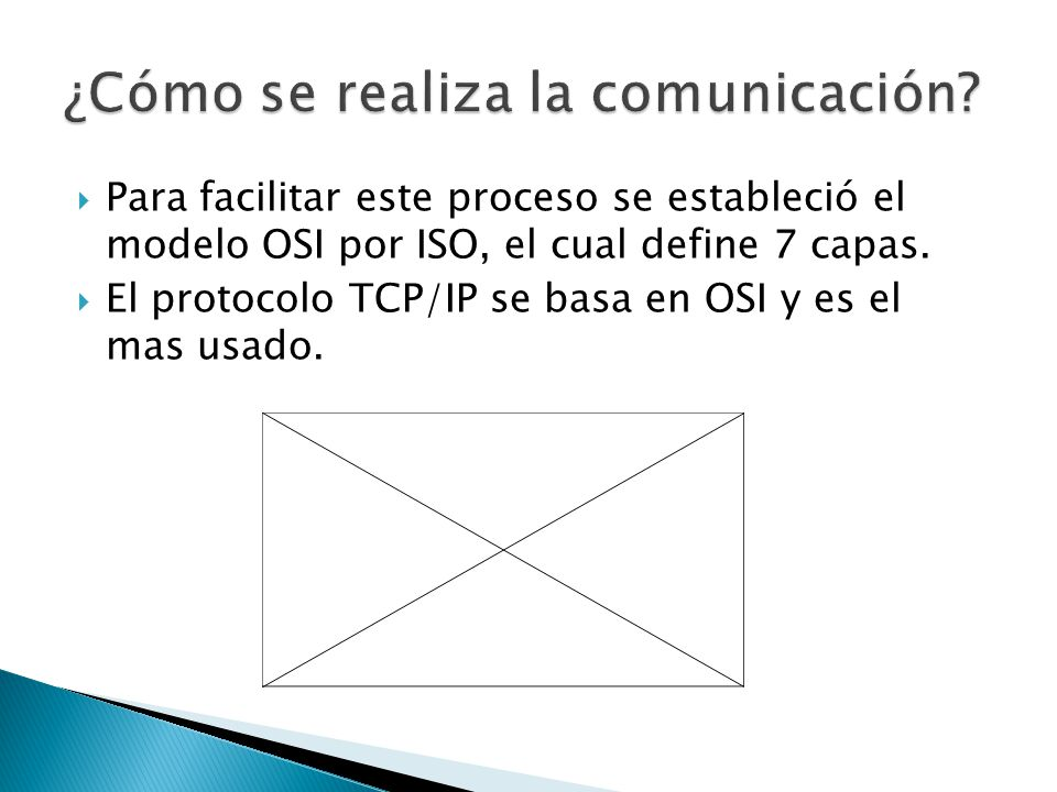 Para facilitar este proceso se estableció el modelo OSI por ISO, el cual define 7 capas. El protocolo TCP/IP se basa en OSI y es el mas usado.