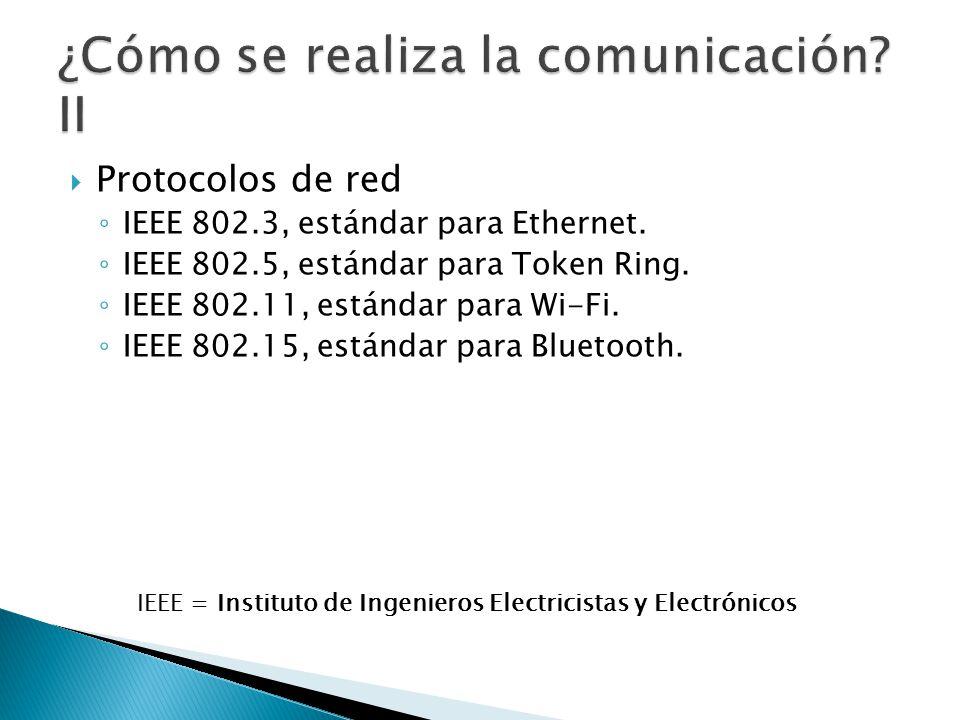 Protocolos de red IEEE 802.3, estándar para Ethernet. IEEE 802.5, estándar para Token Ring. IEEE 802.11, estándar para Wi-Fi. IEEE 802.15, estándar pa
