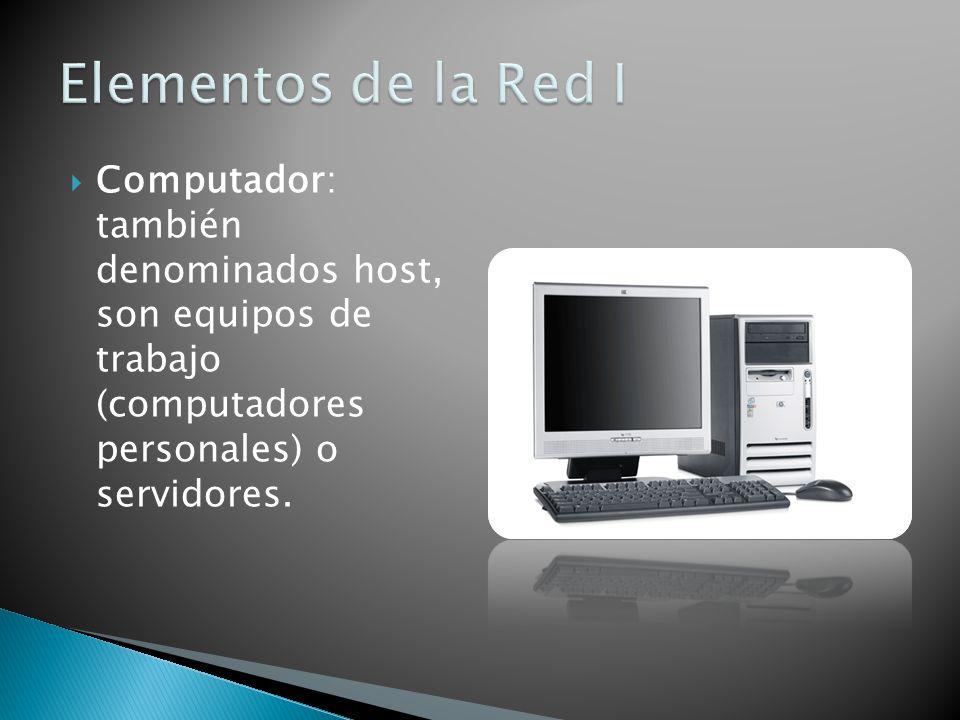 Computador: también denominados host, son equipos de trabajo (computadores personales) o servidores.