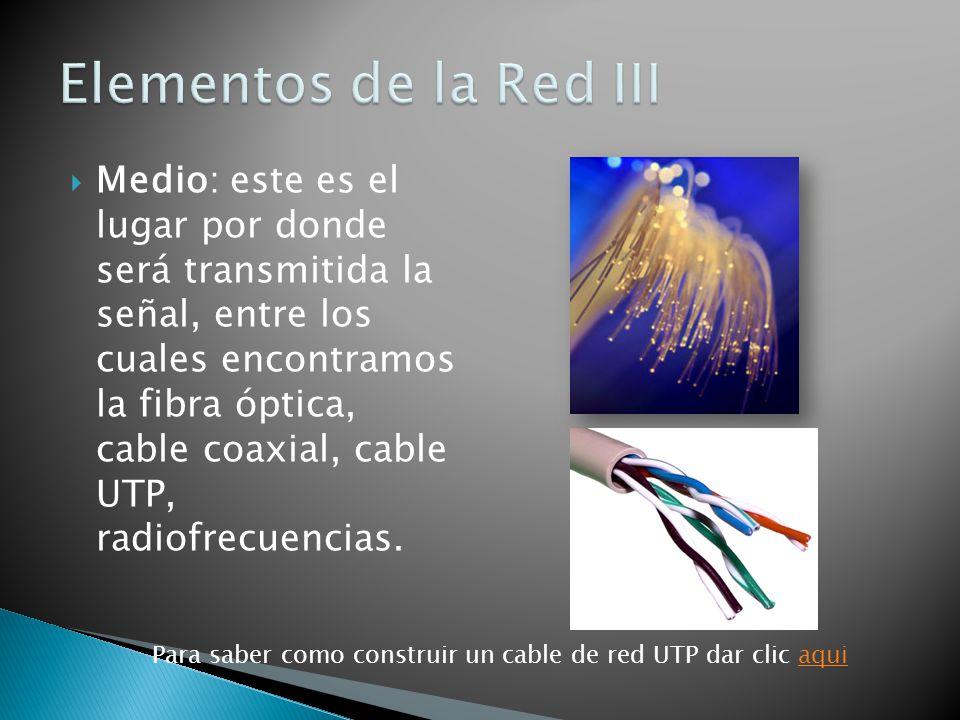 Medio: este es el lugar por donde será transmitida la señal, entre los cuales encontramos la fibra óptica, cable coaxial, cable UTP, radiofrecuencias.