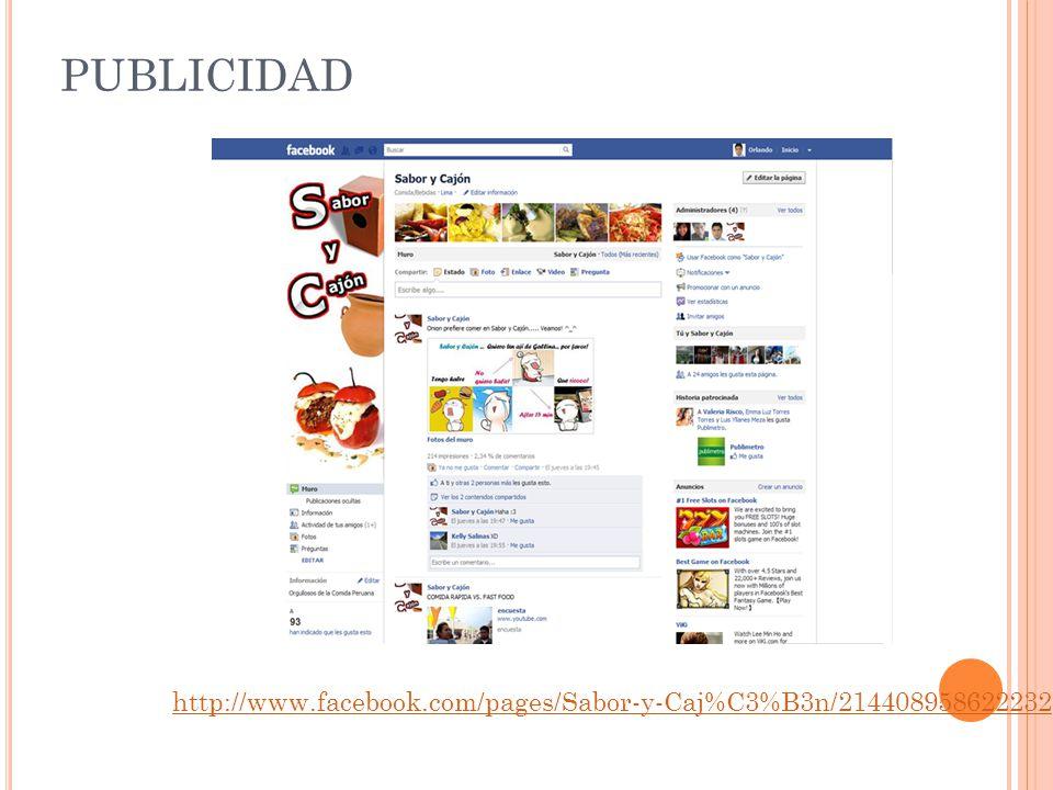 PUBLICIDAD http://www.facebook.com/pages/Sabor-y-Caj%C3%B3n/214408958622232