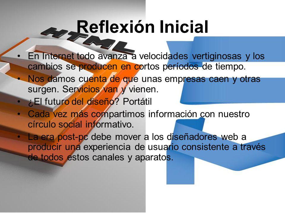 Reflexión Inicial En Internet todo avanza a velocidades vertiginosas y los cambios se producen en cortos períodos de tiempo.