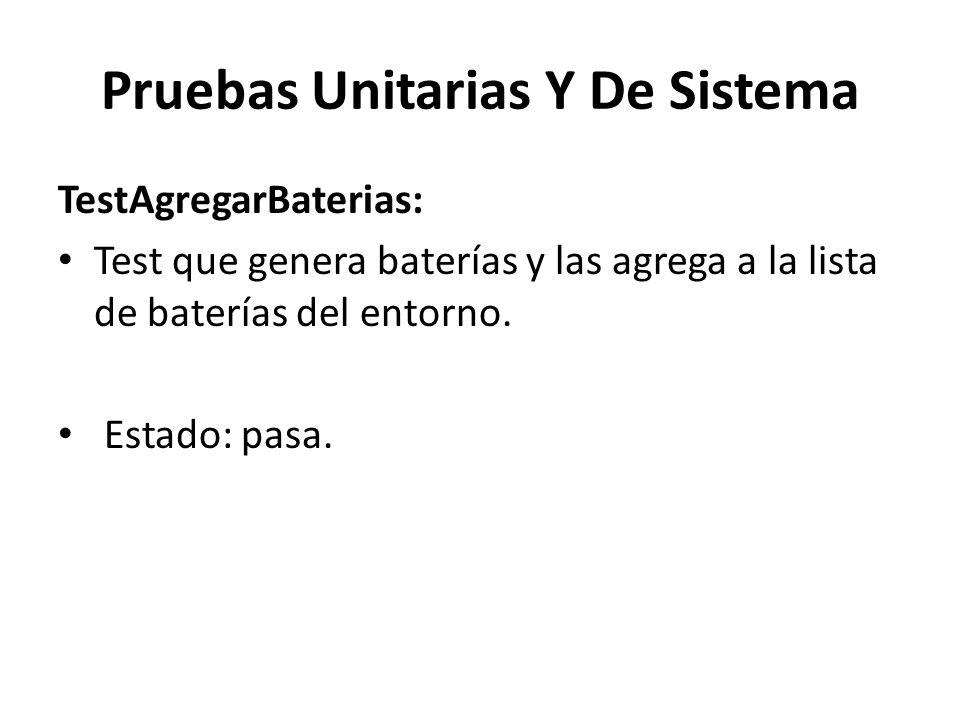 Pruebas Unitarias Y De Sistema TestAgregarBaterias: Test que genera baterías y las agrega a la lista de baterías del entorno.