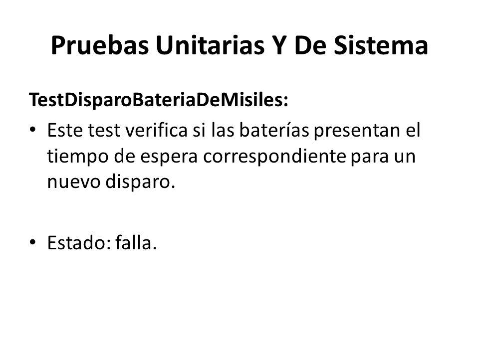 Pruebas Unitarias Y De Sistema TestDisparoBateriaDeMisiles: Este test verifica si las baterías presentan el tiempo de espera correspondiente para un nuevo disparo.