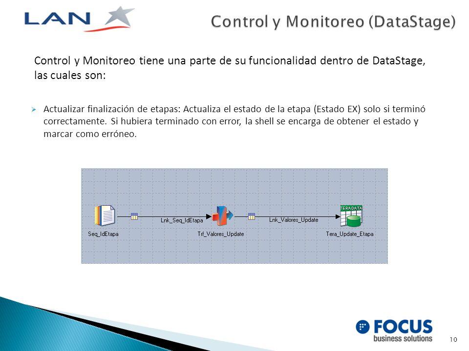 Control y Monitoreo tiene una parte de su funcionalidad dentro de DataStage, las cuales son: Actualizar finalización de etapas: Actualiza el estado de la etapa (Estado EX) solo si terminó correctamente.