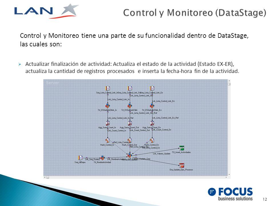 Control y Monitoreo tiene una parte de su funcionalidad dentro de DataStage, las cuales son: Actualizar finalización de actividad: Actualiza el estado de la actividad (Estado EX-ER), actualiza la cantidad de registros procesados e inserta la fecha-hora fin de la actividad.