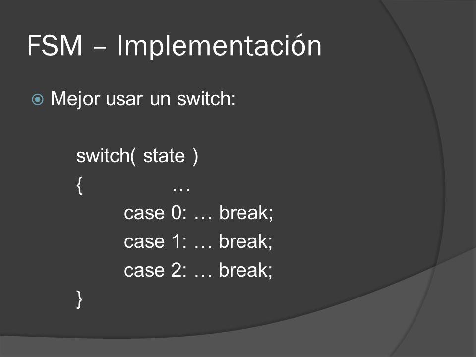 FSM – Implementación Mejor usar un switch: switch( state ) {… case 0: …break; case 1: … break; case 2: … break; }